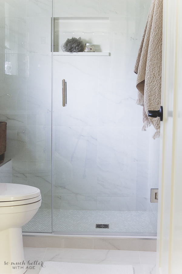 Faux Carrara Marble Master Ensuite | So Much Better With Age