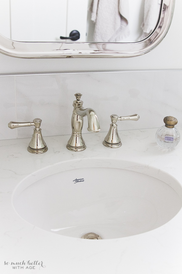 Bathroom Faucet Polished Nickel faux carrara marble master ensuite | so much better with age