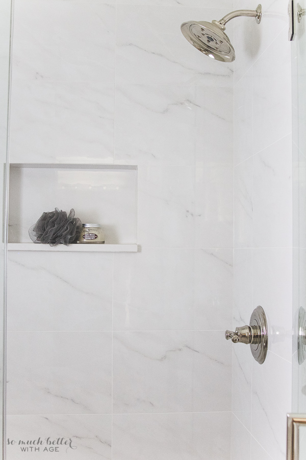 Master Ensuite Porcelain Tile Looks Like Carrara Marble So Much Better With Age