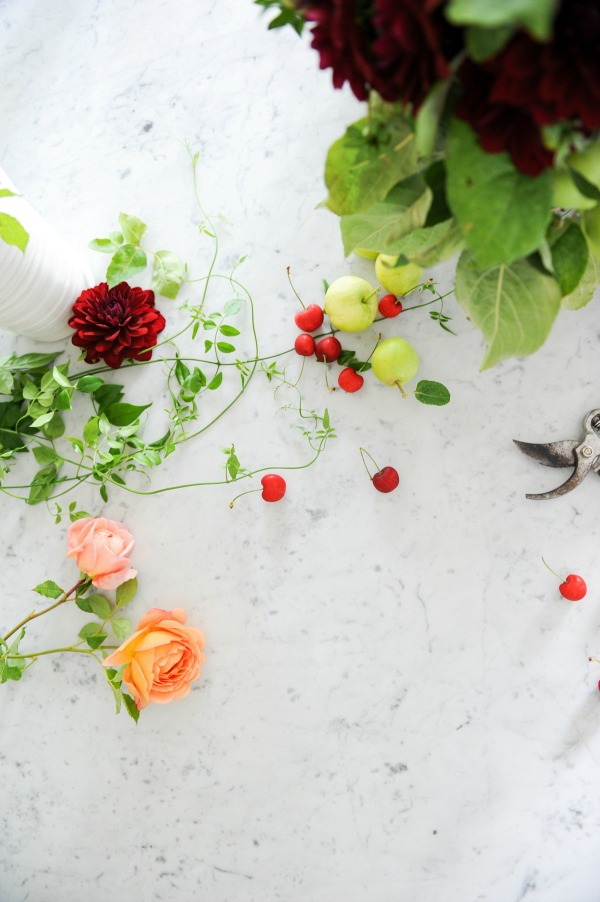 Floral styling workshop with Tracey Ayton & Floralista / flowers on marble counter top - So Much Better With Age