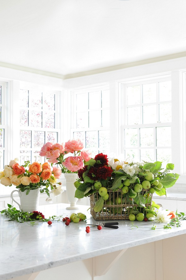 Floral styling workshop with Tracey Ayton & Floralista / bright flowers on kitchen counter - So Much Better With Age