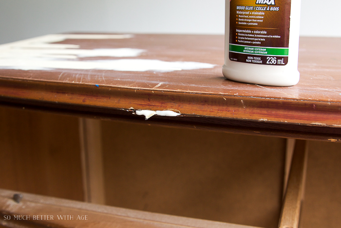 Wood glue put in crack in furniture.