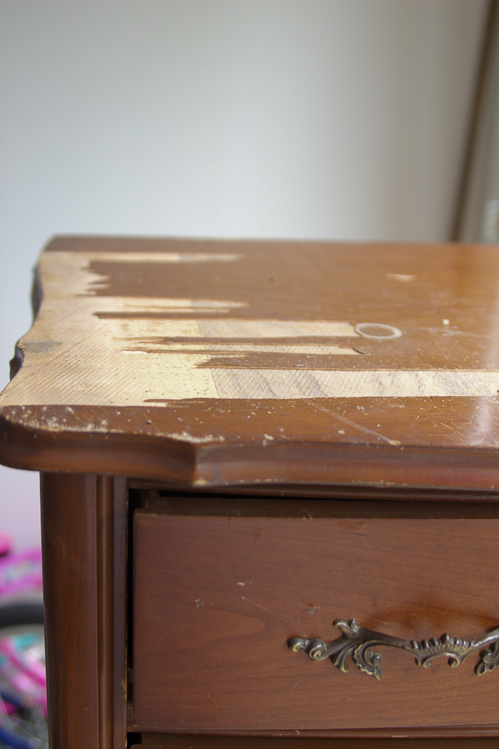 8 Steps on How to Finish Badly Damaged Furniture / veneer coming off dresser - So Much Better With Age