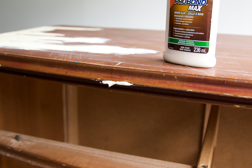 8 Steps on How to Finish Badly Damaged Furniture /  wood glue large cracks on wooden dresser - So Much Better With Age