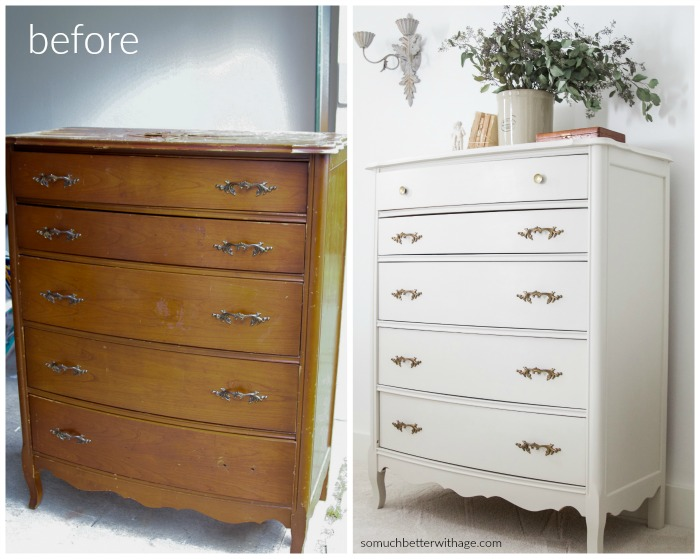 8 Steps on How to Fix Badly Damaged Furniture / Before and after old dresser makeover - So Much Better With Age