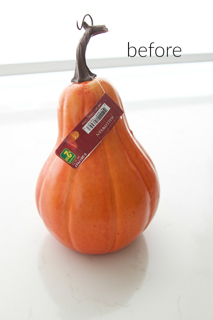 DIY Heirloom Pumpkin Tutorial / Before photo of plastic pumpkin/gourd - So Much Better With Age
