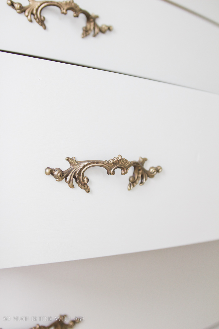 8 Steps on How to Finish Badly Damaged Furniture / vintage gold hardware on dresser - So Much Better With Age