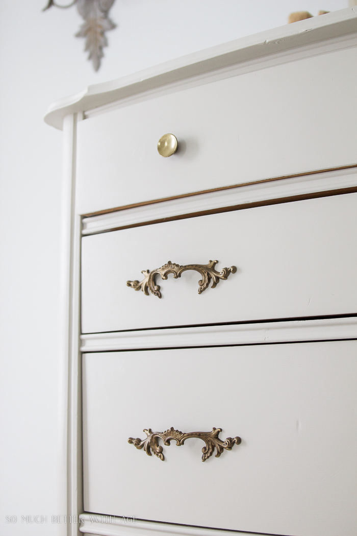 8 Steps on How to Finish Badly Damaged Furniture / Champlain white painted dresser with gold handles - So Much Better With Age