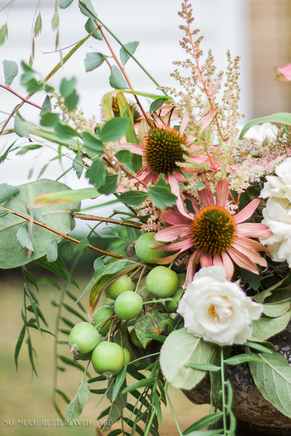 Floral Design and Photography Workshop / Pink and green arrangement - So Much Better With Age