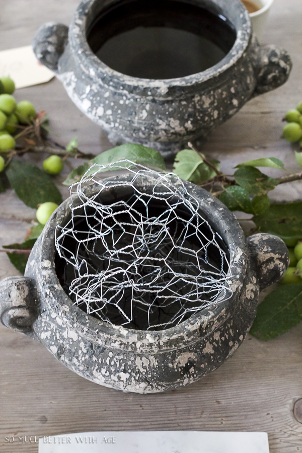 Floral Design and Photography Workshop / Floral pots with chicken wire - So Much Better With Age