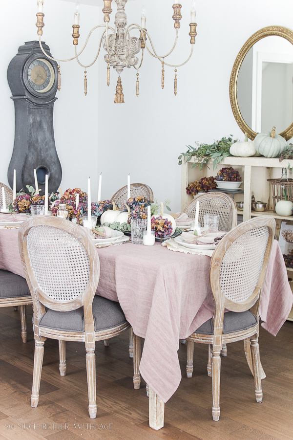 French Country Fall Dining Room / French chandelier, mora clock, gold mirror - So Much Better With Age