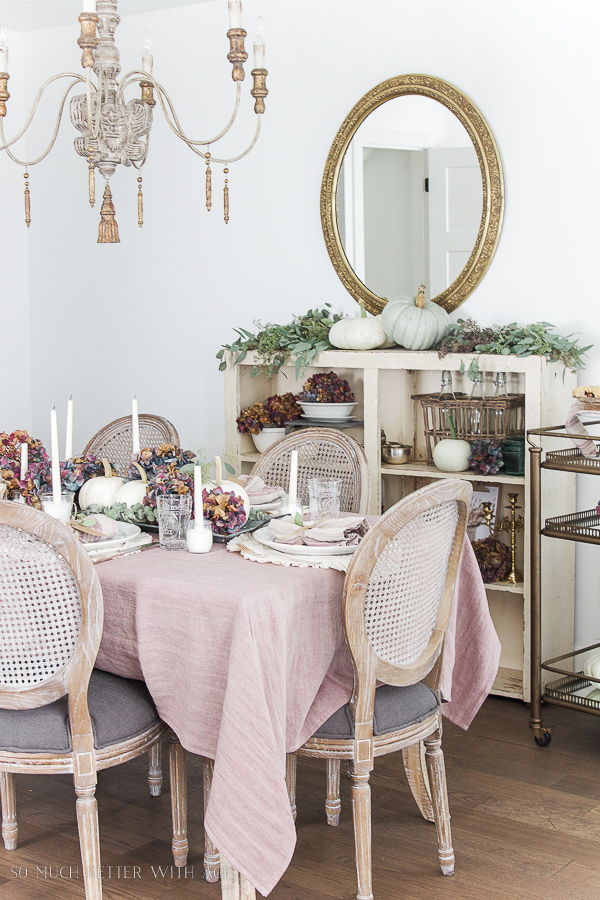 French Country Fall Dining Room / French chandelier, Mora clock and caned dining room chairs - So Much Better With Age