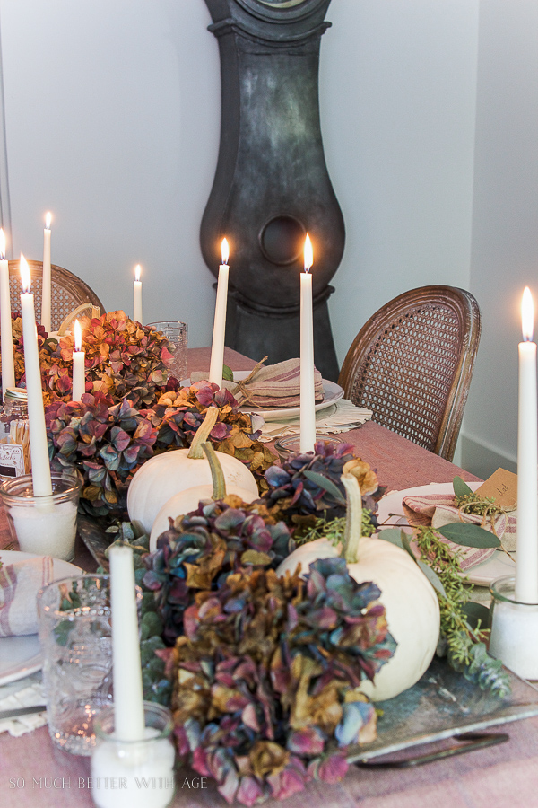 French Country Fall Dining Room / Candlelit dinner table setting - So Much Better With Age