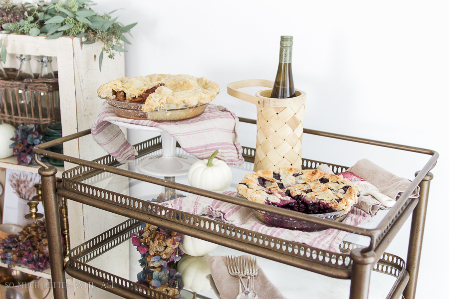 Dessert / bar cart from Soft Surroundings, homebaked pies