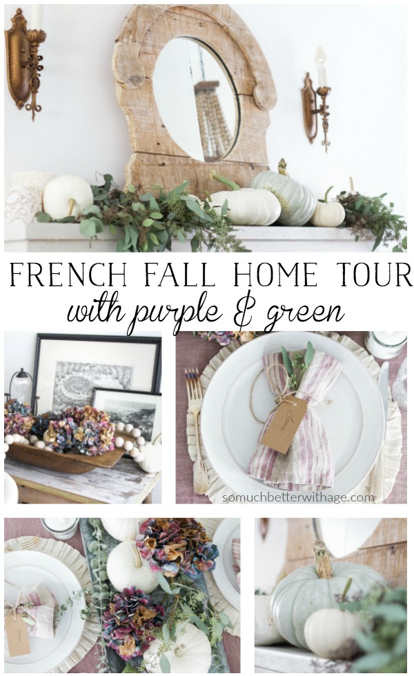 French fall home tour with purple and green