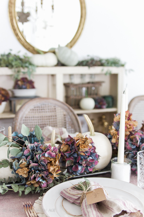 French mirror, fall decorating with purple hydrangeas