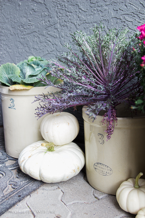 French Fall Home Tour with Purple and Green / Crocks with fall florals and white pumpkins - So Much Better With Age