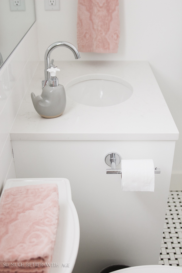 Simple clean and white kids bathroom reveal - So Much Better With Age