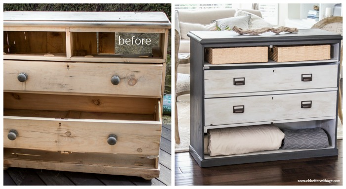 Before and after of old painted dresser.