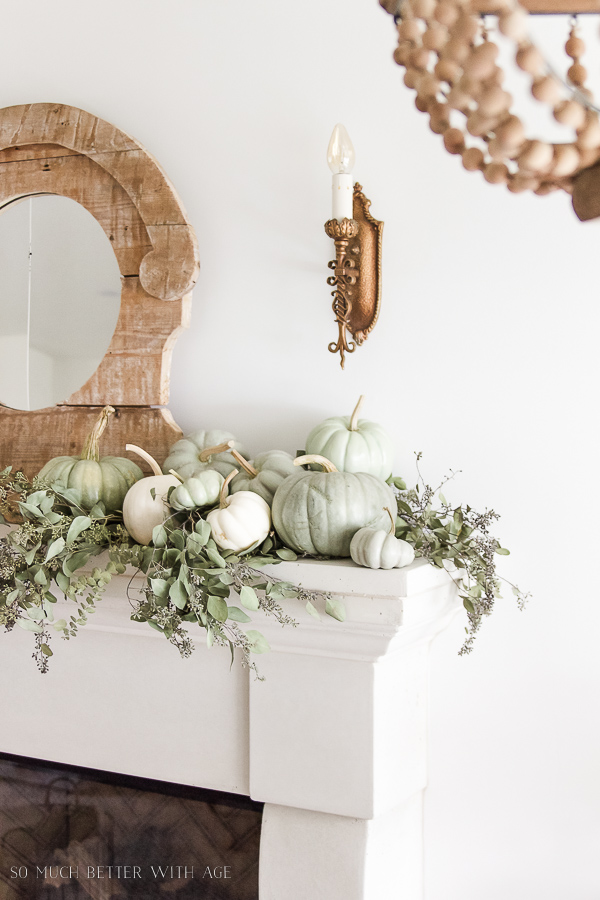 DIY Heirloom Pumpkin Tutorial / heirloom-pumpkins-eucalyptus-on-mantel-102 - So Much Better With Age