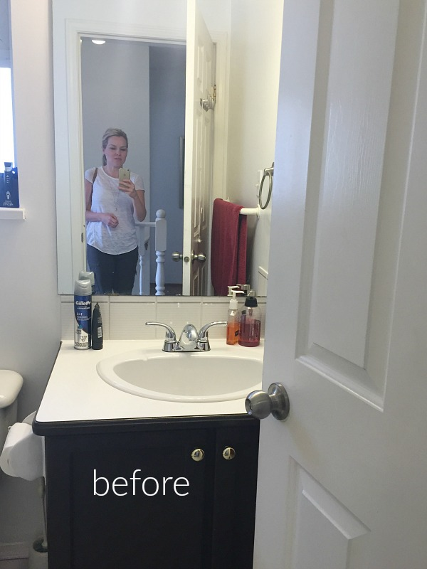 Simple clean and white kids bathroom reveal / before picture - So Much Better With Age