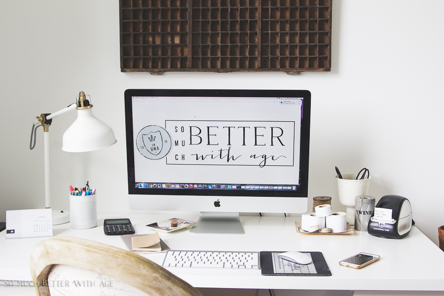Organizing Craft Supplies / Beautiful neutral office with Labelwriter by Mac computer - So Much Better With Age