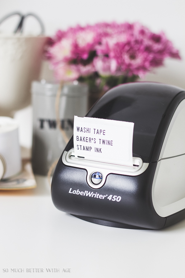 Organizing Craft Supplies / Beautiful photo of Labelwriter 450 by computer on desk - So Much Better With Age