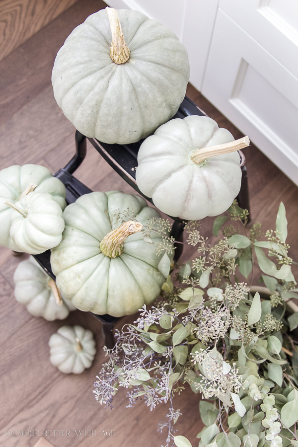 DIY heirloom pumpkin tutorial /heirloom painted pumpkins on stepladder - So Much Better With Age