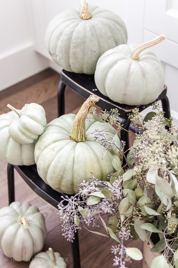 DIY heirloom pumpkin tutorial /heirloom pumpkins with seeded eucalyptus - So Much Better With Age