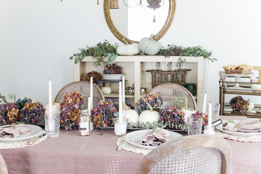 French Country Fall Dining Room / French dining room with purple hydrangeas, seeded eucalyptus and white pumpkins - So Much Better With Age