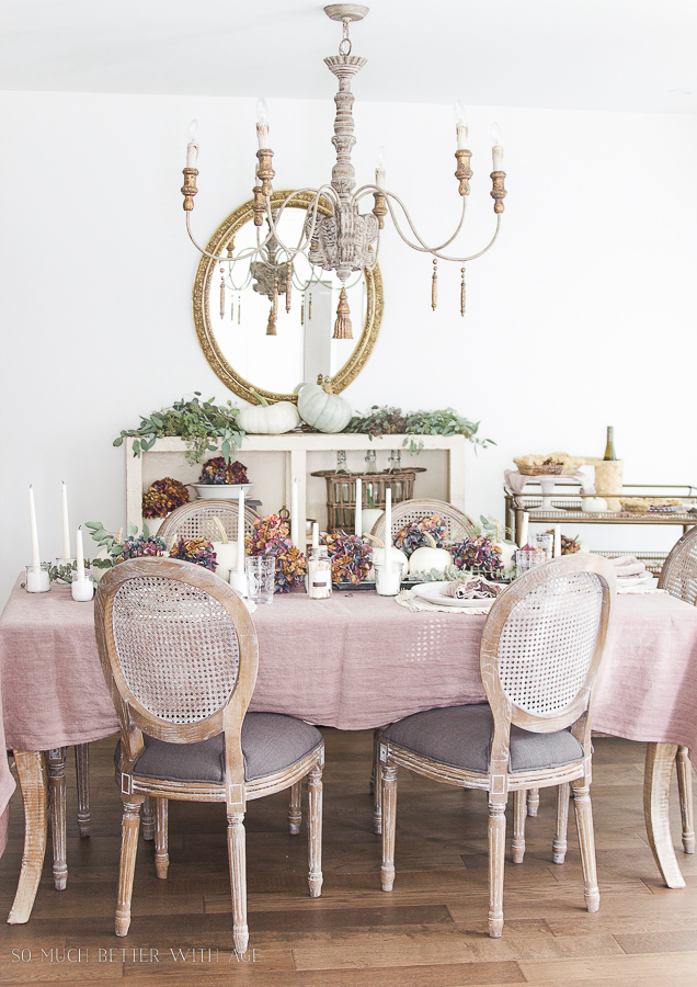 French country fall dining room / with purple and green - So Much Better With Age