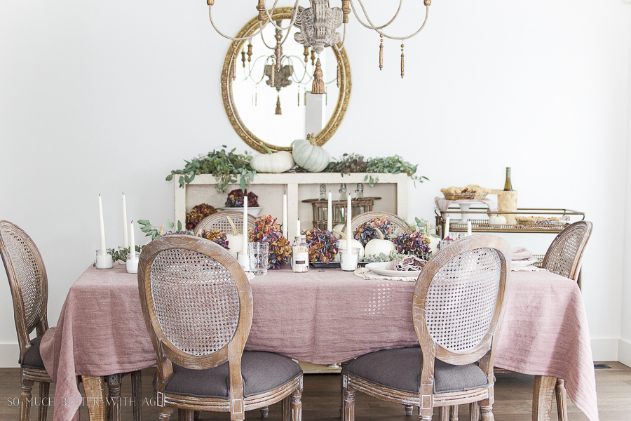 French country fall dining room / purple and green - So Much Better With Age