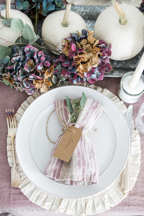 French Fall Home Tour with Purple and Green / Table setting - So Much Better With Age