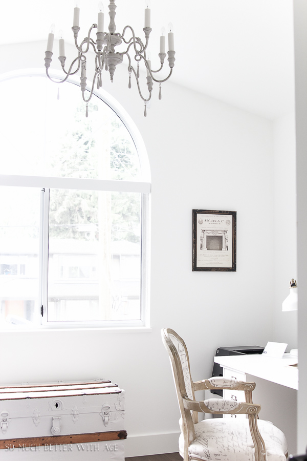 60 Items to Throw Out Today to Declutter/white chandelier in office - So Much Better With Age