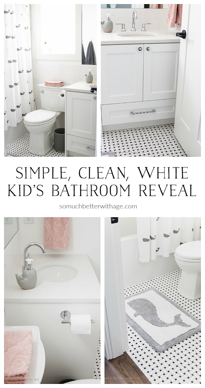 simple clean white kids bathroom reveal so much better with age - Kids Bathroom