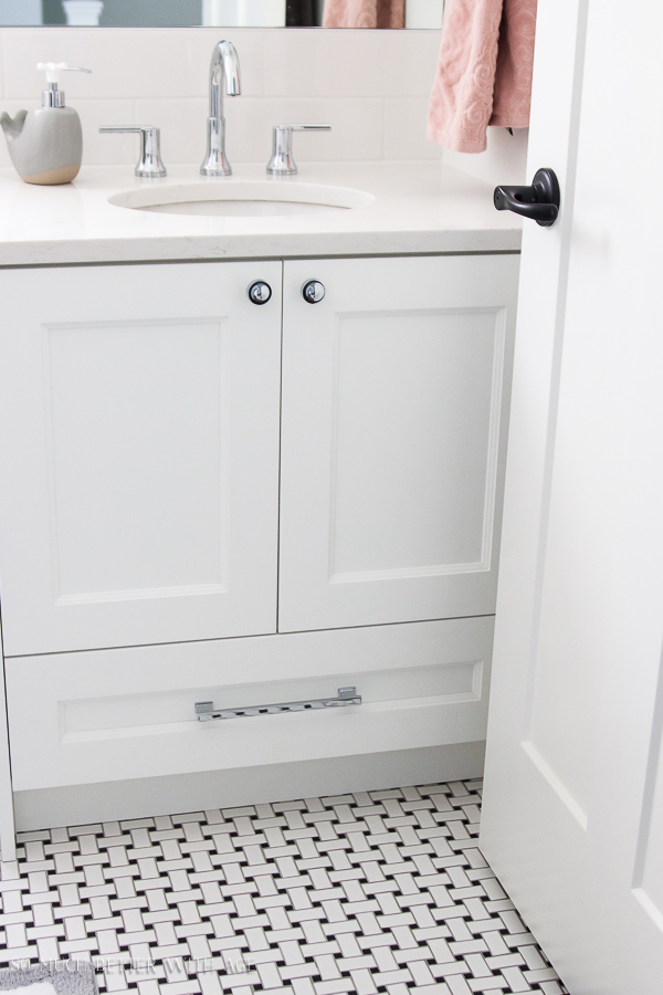 Simple clean and white kids bathroom real / Black and white basketweave tile - So Much Better With Age