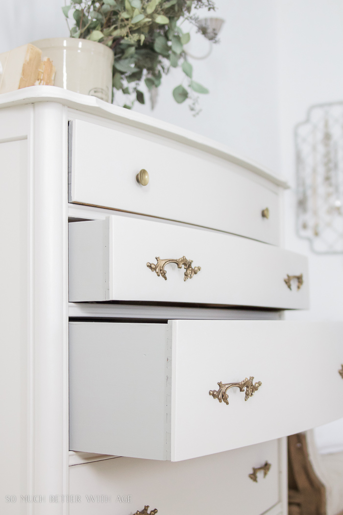 8 Steps on How to Finish Badly Damaged Furniture / white painted dresser with gold handles - So Much Better With Age