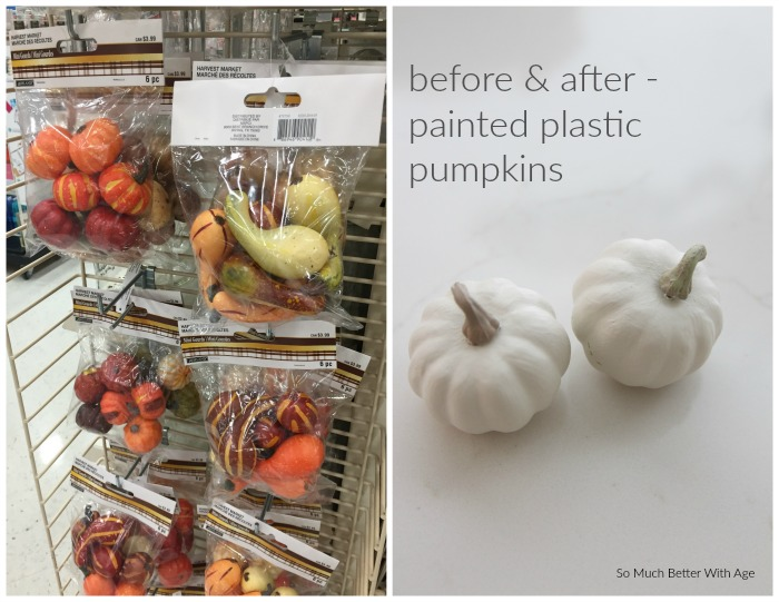 Imitation pumpkins in bags in store and painted white pumpkins.