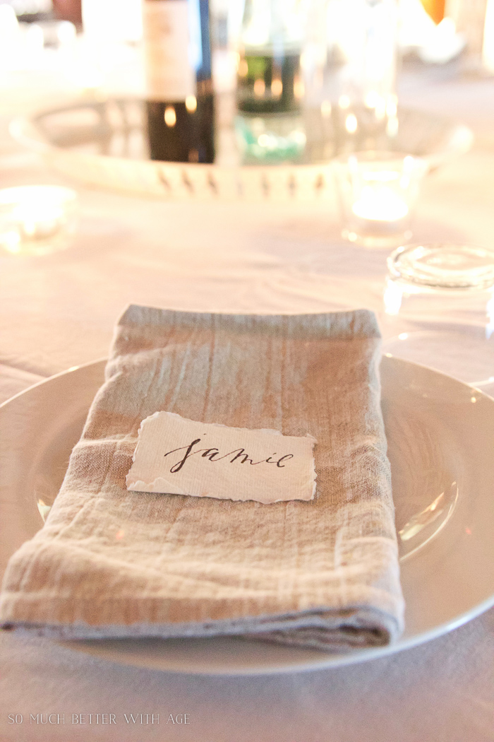 A linen napkin with Jamie on it.