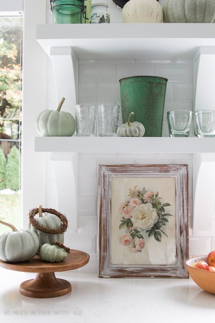 green pumpkins, green decor, white shelves, white kitchen- Fall Kitchen Tour