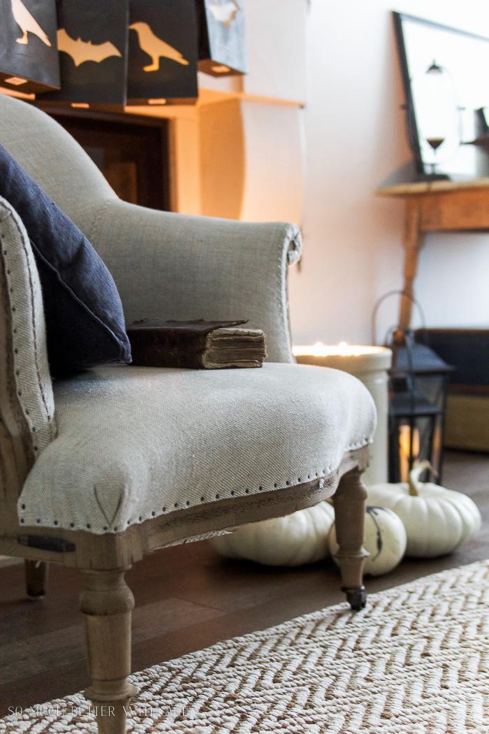 Rustic chair, black pillow for Halloween decor- Halloween Lantern Garland