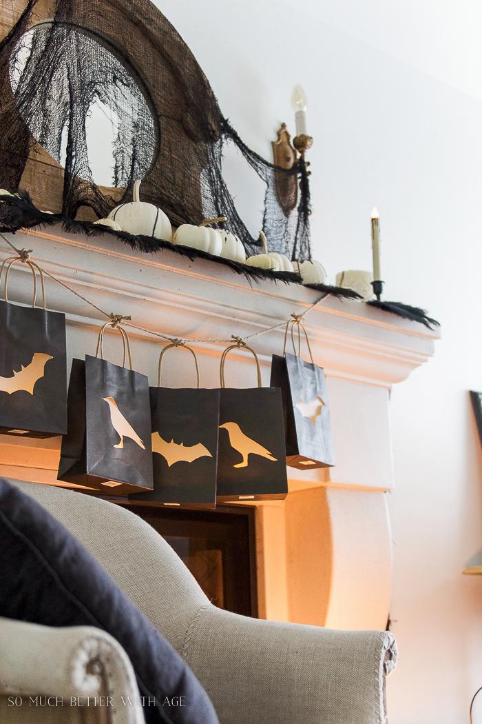 Halloween black decor with lantern bag garland- Halloween Lantern Garland