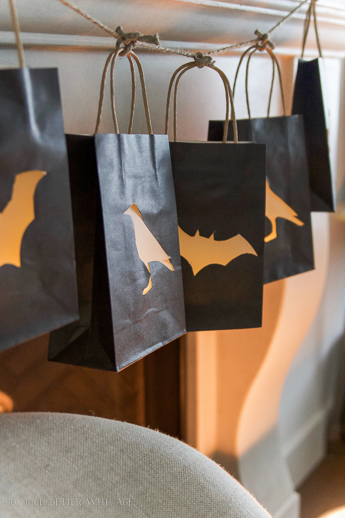 Halloween Lantern Garland / lantern bags made into garland - So Much Better With Age
