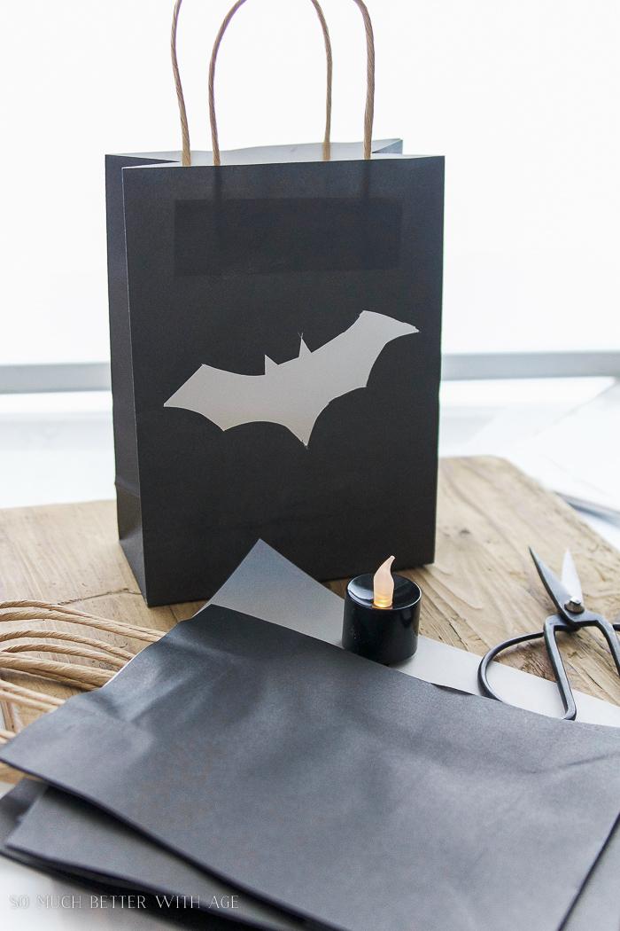 Battery operated black flickering votive candles- Halloween Lantern Garland