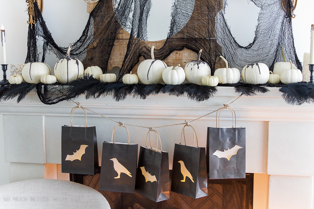 Halloween lantern gift bags with vellum garland- Halloween Lantern Garland