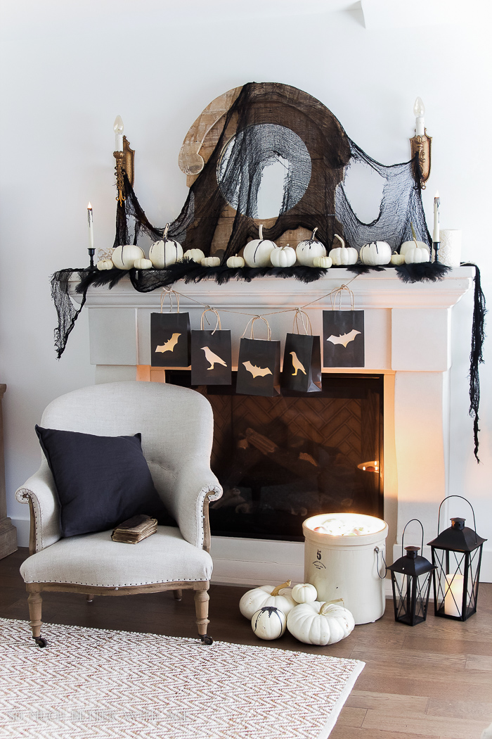 Classic black Halloween mantel decor