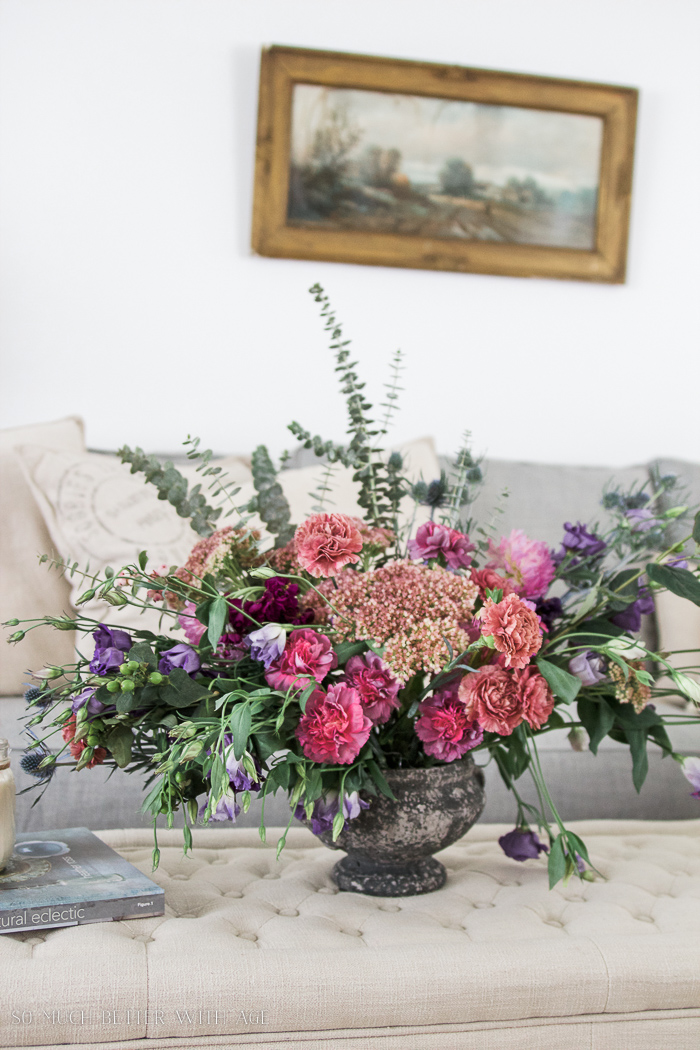 Fall Kitchen Tour / large floral arrangement in living room - So Much Better With Age