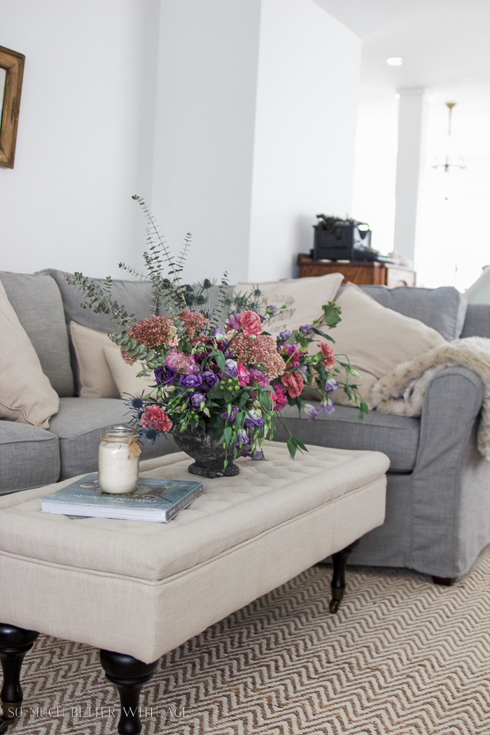 Fall Kitchen Tour / large floral arrangement, grey slipcovered couch - So Much Better With Age
