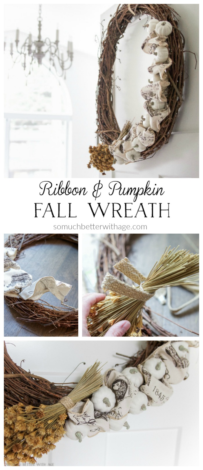 Ribbon and pumpkin fall wreath poster.