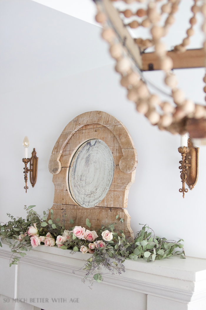 Antiquing a Mirror/French Vintage mantel with mirror and roses - So Much Better With Age